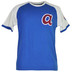 MLB Atlanta Braves Mens Tshirt Tee Crew Neck Blue White Short Sleeve Cotton Sprt