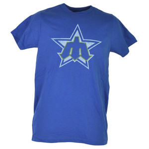 MLB Seattle Mariners Blue Distressed Mens Adult Tshirt Tee Short Sleeve Cotton