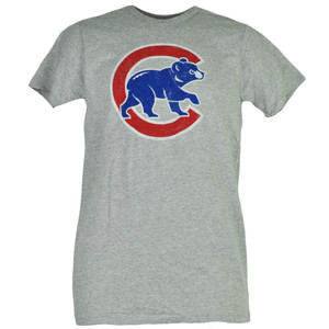 MLB Chicago Cubs Gray Tshirt Tee Men Short Sleeve Crew Neck Distressed Sports