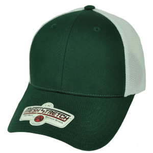 American Needle Green White Flex Fit Large XLarge Blank Plain Solid Hat Cap Mesh