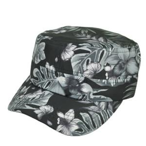 Black Cadet Fatigue Velcro Leaf Pattern Adjustable Hat Cap Headline Curved Bill