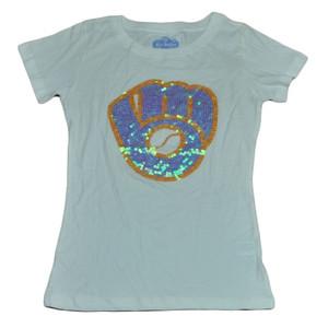 MLB Milwaukee Brewers Tshirt Tee Sequin Logo White Short Sleeve Small Womens