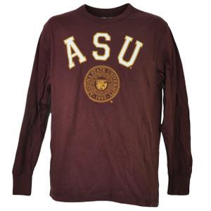 NCAA Arizona Sun Devils Long Sleeve Tshirt Tee Mens Medium Crew Neck Burgundy