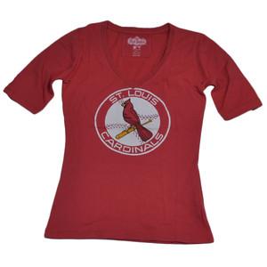 MLB St. Louis Cardinals Mid Sleeve Medium Womens Tee Tshirt Red V Neck Sports