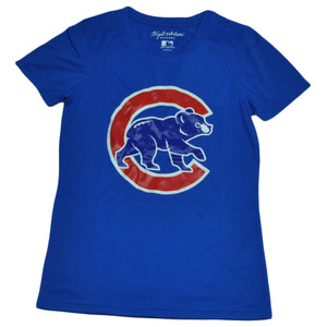 MLB Chicago Cubs Medium Tshirt Tee Blue Womens Ladies Crew Neck Short Sleeve