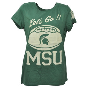 NCAA Michigan State Spartans Lets Go MSU Tshirt Tee Large Green Womens Crew Neck