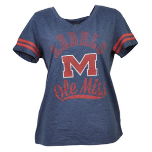 NCAA Mississippi Rebels Medium Blue Tshirt Tee V Neck Womens Striped Sleeve Sport
