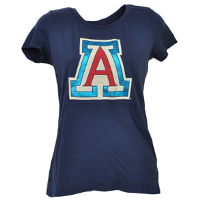 NCAA Arizona Wildcats Crew Neck Tshirt Tee XSmall Womens Short Sleeve Navy Blue