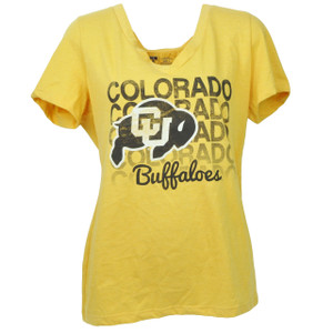 NCAA Colorado Buffaloes Repeat Logo Large Yellow Tshirt Tee Womens V Neck Sports