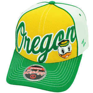 NCAA Zephyr Oregon Ducks Uprising Velcro Hat Cap Yellow White Sports Curved Bill
