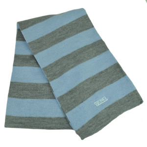 NCAA Yale Bulldogs Striped Scarf Womens Ladies Gray Baby Blue Winter Two Tone