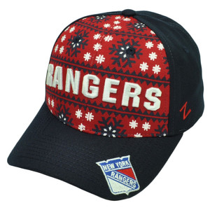 NHL Zephyr New York Rangers Reindeer Snapback Navy Blue Red Hat Cap Snow Flake