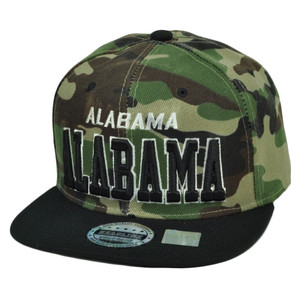 Alabama State Camouflage Camo Snapback Flat Bill Hat Cap USA Bama Adjustable