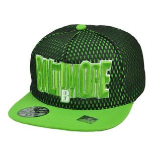 Baltimore Maryland City Town State Black Green Snapback Flat Bill Hat Jersey Mesh