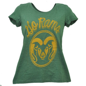 NCAA Colorado State Go Rams Crew Neck Tshirt Tee Short Sleeve Distressed Green