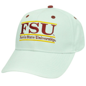 HAT CAP FERRIS STATE FSU BULLDOGS SNAPBACK WHITE RED GOLD NCAA GAME RETRO BAR