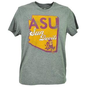 NCAA Arizona Sun Devils Tshirt Tee Short Sleeve Mens Adult Gray State Map Logo