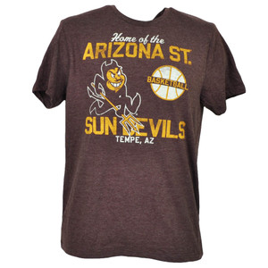 NCAA Arizona Sun Devils Tshirt Tee Short Sleeve Burgundy Mens Basketball Tempe