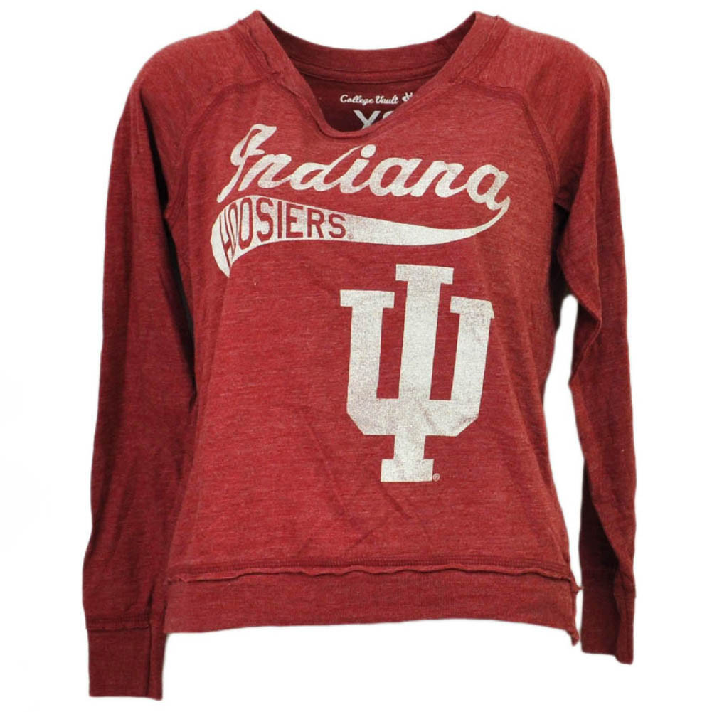 Team Sports Sporting Goods Ncaa Indiana Hoosiers White Womens Long Sleeve Tshirt Button Crew Neck Henley