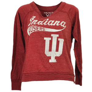 NCAA Indiana Hoosiers Long Sleeve Tshirt Tee Burgundy Womens Loose Fit Sports
