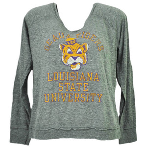 NCAA Louisiana State Geaux Tigers LSU Womens Gray Loose Fit Long Sleeve Tshirt