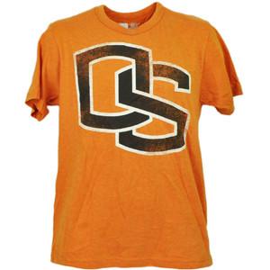 NCAA Oregon State Beavers Orange Short Sleeve Tshirt Tee Mens Adult Distressed