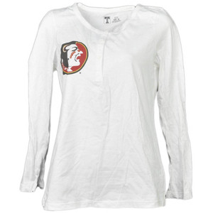 NCAA Florida State Seminoles White Womens Long Sleeve Henley Fear the Spear Tee