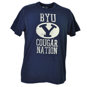 NCAA Brigham Young Cougars BYU Nation Navy Blue Tshirt Tee Short Sleeve Mens