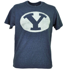 NCAA Brigham Young Cougars Navy Blue Tshirt Tee Short Sleeve Distressed BYU