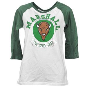 NCAA Marshall Thunder Herd 1837 Foil Logo Mid Sleeve Tshirt Tee Womens Ladies