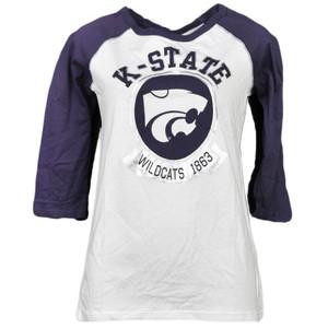 NCAA Kansas State Wildcats 1863 Foil Logo Mid Sleeve Tshirt Tee Womens Adult