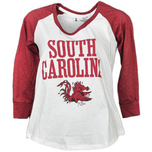NCAA South Carolina Gamecocks Mid Sleeve Tshirt Tee Womens White Crew Neck Sport