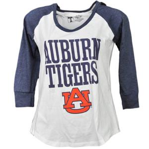 NCAA Auburn Tigers Mid Sleeve Tshirt Tee Womens White Navy Blue Crew Neck Sports