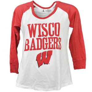 NCAA Wisconsin Badgers Mid Sleeve Tshirt Tee Womens Red White Crew Neck Sport