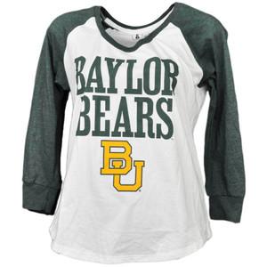 NCAA Baylor Bears Mid Sleeve Tshirt Tee Womens White Green Crew Neck Sports
