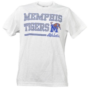 NCAA Memphis Tigers White Underline Logo Mens Tshirt Tee Short Sleeve Sports