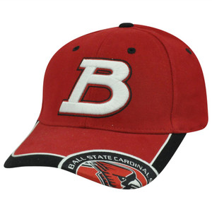 NCAA Ball State Cardinals Curved Bill Adjustable Velcro Constructed Red Hat Cap