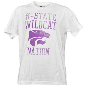 NCAA Kansas State Wildcats K State Nation White Distressed Tshirt Tee Mens Sport