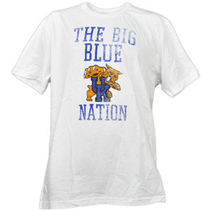 NCAA Kentucky Wildcats Nation White Distressed Tshirt Tee Mens Short Sleeve