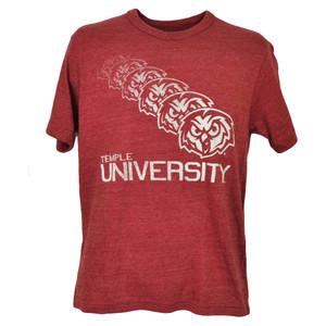 NCAA Temple Owls Repeat Logo Burgundy Tshirt Tee Short Sleeve Mens Crew Neck