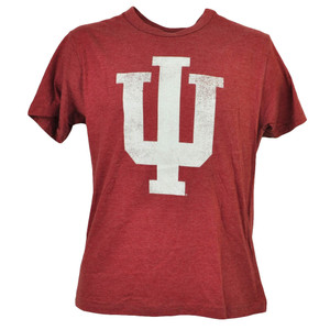 NCAA Indiana Hoosiers Distressed Logo Burgundy Mens Tshirt Tee Short Sleeve