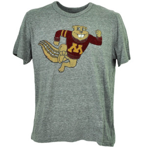 NCAA Minnesota Golden Gophers Felt Logo Mens Tshirt Tee Gray Short Sleeve Sport