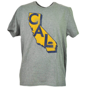 NCAA California Golden Bears State Map Logo Mens Gray Tshirt Tee Short Sleeve