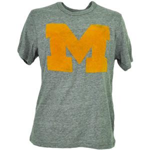 NCAA Michigan Wolverines Felt Logo Mens Adult Tshirt Tee Gray Crew Neck Sports