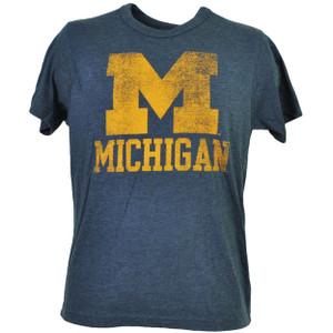 NCAA Michigan Wolverines Navy Distressed Logo Mens Tshirt Tee Go Blue Sports