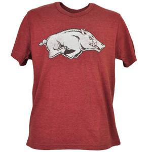 NCAA Arkansas Razorbacks Distressed Logo Burgundy Tshirt Tee Mens Short Sleeve
