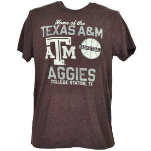NCAA Texas A&M Aggies Basketball Burgundy Tshirt Tee Mens College Station TX