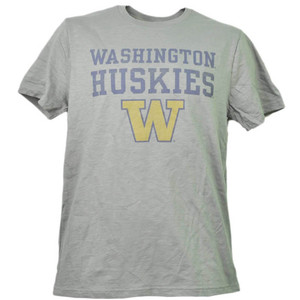 NCAA Washington Huskies Mens Adult Tshirt Tee Short Sleeve Crew Neck Gray Sports