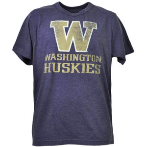 NCAA Washington Huskies Distressed Logo Mens Tshirt Tee Short Sleeve Crew Neck
