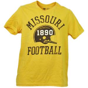 NCAA Missouri Tigers Mizzou Helmet Football Yellow Mens Adult Tshirt Tee Sports